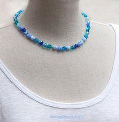 Aqua Blue Crochet Necklace, #VintageRoseGallery #etsy  Blue Beaded Crocheted Necklace, Aqua Crystal Crocheted Necklace by VintageRoseGallery