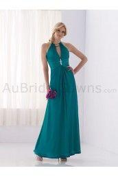 Satin Halter Tie-neck Neckline Keyhole Ruched Bodice A-line Bridesmaids Dress