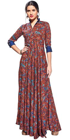 Alluring Brown Rayon Kurti. Indian Dresses, Indian Outfits, Western Dresses, Indian Clothes, Hijabi Gowns, Frock For Women, India Fashion, Women's Fashion, Designer Dresses