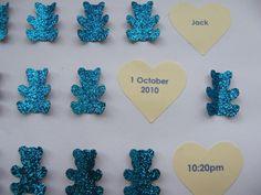"Image of Bears - Medium (9"" sq.) - Blue Glitter with Cream Hearts"