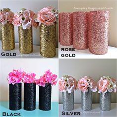Gold Wedding Centerpieces, Bridal Shower Centerpieces, Centerpiece Decorations, Princess Centerpieces, Anniversary Centerpieces, Pink Und Gold, Rose Gold, Blush Pink, Gold Mason Jars