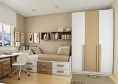 Teens Bedroom White Small Bedroom for Teenager: Yes Or No?: Sharp Modern Small Teen Bedroom Theme With Soft Creamy Mix White Painted Wall And Two Tone Color Furniture Set Along Grayish Rug Bedroom Layouts, Bedroom Sets, Bedroom Decor, Bedroom Designs, White Bedroom, Small Bedroom Furniture, Brown Furniture, Furniture Ideas, Modern Furniture