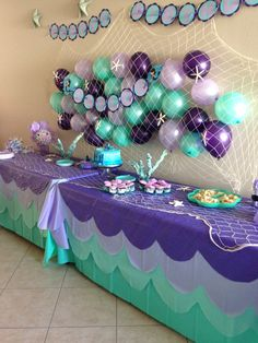 Purple and teal party decorations; under the sea little mermaid Birthday party food; Mermaid Theme Birthday, Little Mermaid Birthday, Little Mermaid Parties, Mermaid Themed Party, Mermaid Baby Shower Decorations, Mermaid Birthday Party Decorations Diy, Mermaid Party Food, Mermaid Babyshower Ideas, Little Mermaid Centerpieces