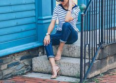 The heels will elevate your tee in an instant. Get the look: Madewell tee ($25); Gap jeans ($70); Lo... - Prosecco & Plaid