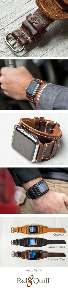 www.PadAndQuill.com The beautiful Lowry Cuff is made for the 42 mm Apple Watch. It has hand-finished stitching, 3 color options and is made with leather from the Horween Tannery. Made next door on the banks of the Mississippi River, the supple leather and raw edge of this luxury leather cuff for the Apple Watch give homage to the eclectic feel of the city we call home.