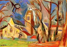Eglise De La Chalouette Artwork By André Lhote Hand-painted And Art Prints On Canvas For Sale,you Can Custom The Size And Frame Critique D'art, Georges Braque, Building Art, Post Impressionism, Living Room Paint, Egyptian Art, French Art, Canvas Art Prints, Illustration