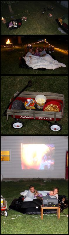 Our outdoor movie theater :) SO MUCH FUN and so many memories!
