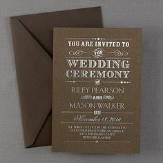 Rustic Invitation in Mocha Shimmer Cardstock and Silver Foil Ink - This contemporary invitation is shown with a rustic design. Available in several cardstock and ink color combinations. Rustic Invitations, Invitation Wording, Invitation Cards, Wedding Invitations, Invites, Espresso And Cream, Twins 1st Birthdays, Cream Wedding, You Are Invited