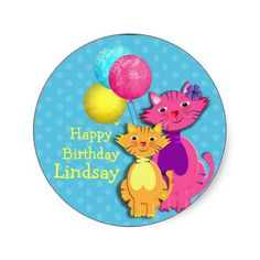 Cute Fun Party Pussy Cat Colorful Stickers ideal for projects such as kids cup cake toppers or table decor