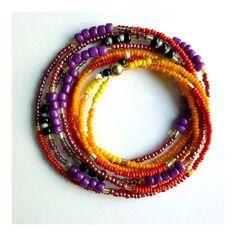 Collier ou bracelet multi-rangs * violet marsala rouge orange jaune * et doré, blanc noir en perles rocailles
