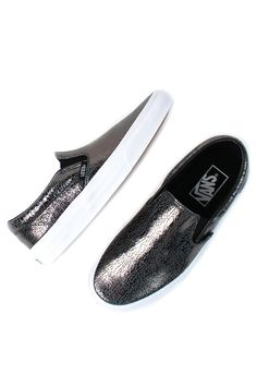 The Classic Slip On Shoe features a low profile design with leather upper, crackle pattern printed, elastic side goring for easy on-and-off, and vulcanized rubber outsole for traction and durability.