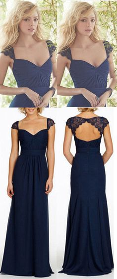 Navy Blue Bridesmaid Dresses,Long Bridesmaid Dress,Open Back Bridesmaid Dresses,Cap Sleeve Bridesmaid Dress,Sexy Chiffon Bridesmaid Dress b