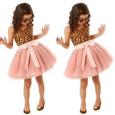 New Baby Girls Dress Party Lepord Solid Lace Tulle Fancy Tutu Dresses Sundress | eBay