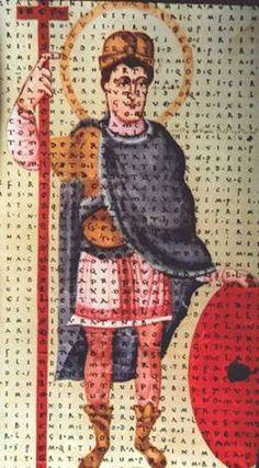 Miniature from Hrabanus' De Laud showing Louis the Pious as defender of the Cross. (Wien: Aust. Nat. Lib. Cod. 652). Fulda School, circa 840 A.D.