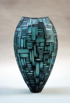 Tampa: Blown glass vessel with cold worked surface. 18 3/4 x 10 3/4 x 9 3/4 inches     Artists:  Philip Baldwin & Monica Guggisberg     http://baldwinguggisberg.com/     via: davidrichardgallery.com