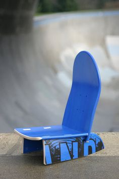 Now this is a sweet use of old skateboards: Upcycled into chairs for kids.  (via boardgames on Etsy)