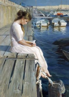 Woman Reading On Dock Art by Vladimir Volegov Reading Art, Woman Reading, Reading Books, Vladimir Volegov, Francisco Goya, Beautiful Paintings, Romantic Paintings, Classic Paintings, Art Paintings