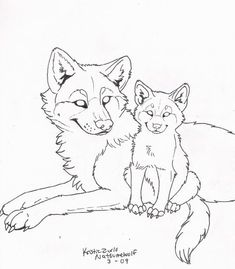 FREE Wolf and Pup Line Art by NatsumeWolf on DeviantArt