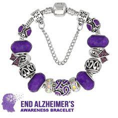 Lovely Alzheimer's Awareness Ribbon Charm Bracelet!
