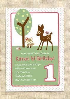 Woodland Birthday invitation - set of 12. $15.00, via Etsy.