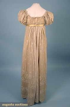 """SILK NET & LACE DRESS, c. 1810  back  Cream silk embroidery on cream net, high waist, B 36"""", Hi-W 30"""", Front L 53"""", Back L 55"""", (gold silk lining & ribbon replaced 20th C, separation in lace seam)"""