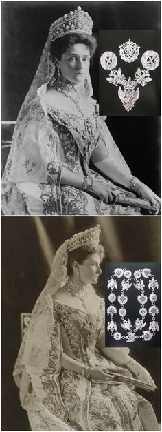 For the opening of the first Duma in 1906, Empress Alexandra Feodorovna wore the diamond chain of the Order of St. Andrew, dating from the reign of Paul I. Both portraits of the empress were probably created by Boissonnas & Eggler in 1908. Photo credits: (above): Bain News Service, via Wikimedia Commons; (below): Royal Collection Trust/© Her Majesty Queen Elizabeth II 2015. Inset photos via Elena Horvathova on LiveJournal (http://eho-2013.livejournal.com/62382.html). CLICK FOR LARGER IMAGES.