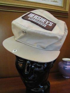 Vintage Hershey's Milk Chocolate Bar Tan Newsboy Cap Hat Made in U.S.A. Fits All #Hersheys #Newsboy #Casual