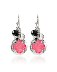 Pink Black Drop Earrings