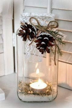 Mason Jar Candle ~ Epsom salt or white sand in bottom of jar . . .