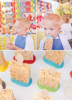 painting party:  rice krispie treat paintbrushes
