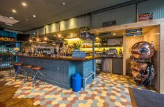 A funky hospitality project featuring our Honeycomb range. Colourful hexagon shaped floor tiles.