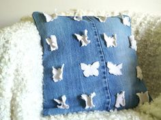 pillow, godeco.pl, butterfly, motyl, denim, jeans, recycling, eco,