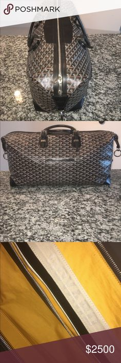 Goyard 55 Duffle Bag This Goyard 55 duffle bag is in great condition for its age. This is the largest carry on bag allowed on most planes. It has basic wear and tear from occasional use, the material is still firm and the bag has its original iconic shape !!!! Comes from a pet and smoke free environment, stored inside the dust bag with cotton inside the bag to preserve its shape !!! Goyard Bags Travel Bags