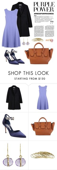 """Purple Power"" by windrasiregar on Polyvore featuring MANGO, Armani Collezioni, Manolo Blahnik, CÉLINE, Melissa Joy Manning and Paolo Costagli"