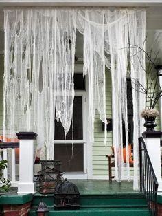 Hanging torn muslin fabric will tell your guests that this is going to be a great Halloween party.