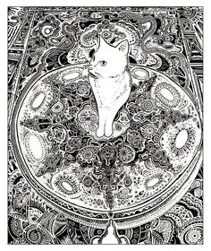 "coloring page coloring-cat-on-carpet. A cat on a carpet full of details| free sample | Join my grown-up coloring group on fb: ""I Like to Color! How 'Bout You?"" https://m.facebook.com/groups/1639475759652439/?ref=ts&fref=ts"