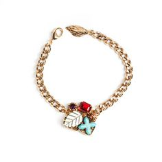 $30.00 Emilie Bracelet  Bring on the wrist bliss with the Emillie Bracelet. A chunky gold rolo chain is beautifully enhanced with ruby, amethyst, topaz, abalone and turquoise. Add the tiny leaf at the clasp, and this bracelet isn't wanting for anything more!