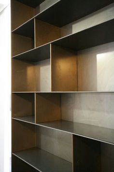 Steel bookshelves.. www.harrierdesign.it Steel Bookshelf, Steel Shelving, Bookshelves, Bookcase, Shelving Systems, Wall Shelves Design, Storage Design, Steel Furniture, Furniture Decor