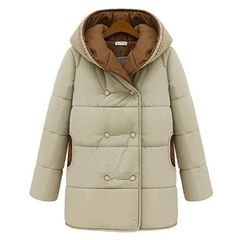 MU2M Women Hooded Solid Color Loose Fit Casual Thickened Puffer Coat