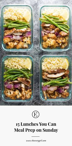 15 Lunches You Can Meal Prep on Sunday - Meal Prep for Beginners - Mittagessen Clean Eating Snacks, Healthy Eating, Lunch Recipes, Healthy Recipes, Healthy Meals, Dinner Recipes, Recipes For Meal Prep, Keto Recipes, Easy Healthy Meal Prep