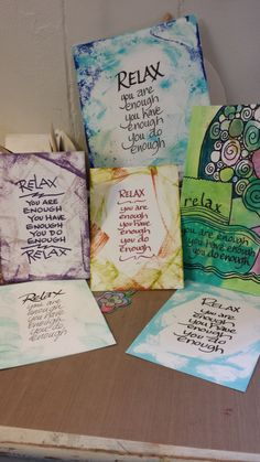 Relax you are enough quote, calligraphy by two coyotes studio