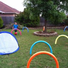 Found this idea in Family Fun Magazine May 2012. It is super easy and super fun!! I used 9 noodles and my son added the soccer goal! I found the noodles at Lowes for $1.98 a piece and used dowel rods cut to 1 foot lengths. The whole thing cost under $25.00!! We had a blast playing!!