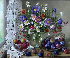 My Virtual Reading Room - Лидия Даценко. Цветы и сливы/Lydia Datsenko. Flowers and Plums.