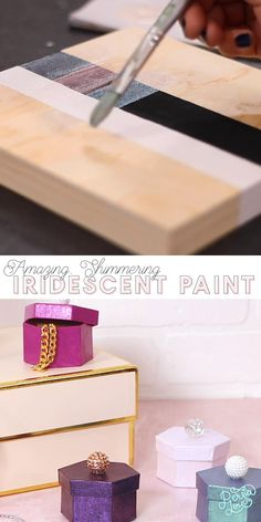 Create beautiful holographic crafts with this new iridescent topcoat! Diy Earrings, Polymer Clay Earrings, Metallic Painted Furniture, Diy Art Projects, Types Of Craft, Some Ideas, Crafts To Make, Diy Gifts, Topcoat