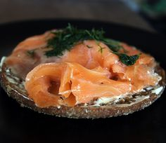 Cold smoked salmon on Finnish Reissumies-rye bread