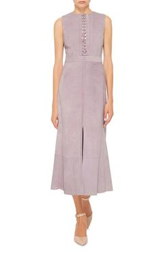 Using only the finest raw calfskin suede, designers Jack McCollough and Lazaro Hernandez deliver this **Proenza Schouler** dress in a grey-lavender hue.
