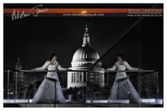 Rock the Frock. Romantic reflections. St Paul's Cathedral. London.  Post wedding portraits. Photography
