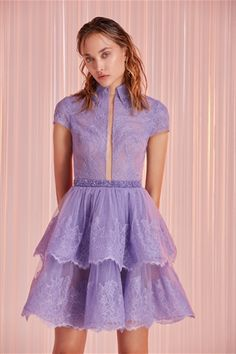 Tony Ward Ready-to-Wear Spring/Summer 2020 Collection Source Short Lace Dress, Short Dresses, Timeless Fashion, High Fashion, Women's Fashion, Purple Outfits, Full Length Gowns, Tony Ward, Cocktail Gowns