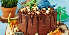 This choc-rock sensation will drive the kids wild. Chocolate sauce, chocolate crackles and chocolate cake - decorate with toy dinosaurs and trees and you& go back in time. Round Cake Pans, Round Cakes, Dinosaur Birthday Cakes, Dinosaur Cake Easy, Dinosaur Party, 4th Birthday, Dino Cake, Hazelnut Cake, Cake Board