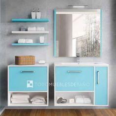 Mueble color lateral Blanco mate / Frontal Azul Mate + Lavabo de cerámica extraplano de 80cm + Espejo Mar (mismo acabado que el mueble) de 80cm lacado azul mate + Aplique de luz halógeno Victoria + mueble auxiliar Kira con tapa de madera
